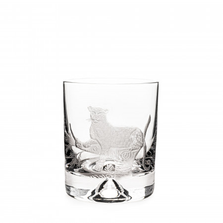 Hand Engraved Crystal Glass - Leopard