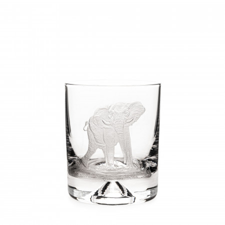 Hand Engraved Crystal Glass - Elephant