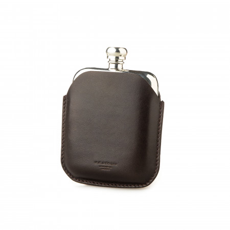 4oz Hip flask in Dark Tan