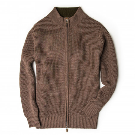 Westley Richards Bowland Zip Cardigan in Clay with Field Green