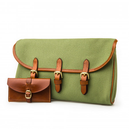 Redfern Cleaning Pouch -Green Canvas & Mid Tan