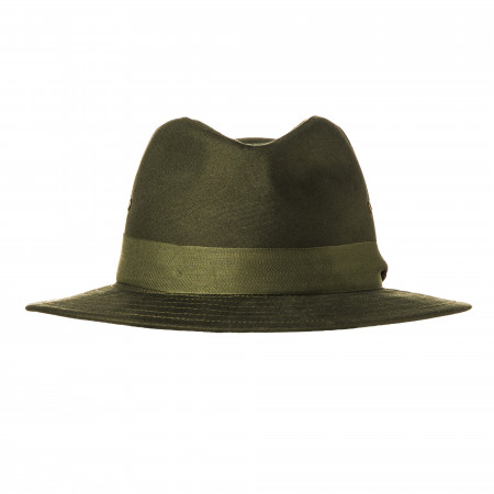 Hunting Hat with Green Herringbone Band