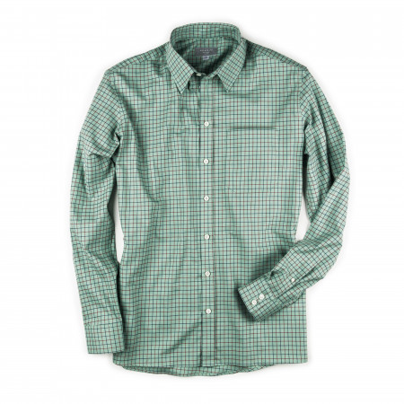 Men's Deluxe Tattersall Shirt - Green with Red