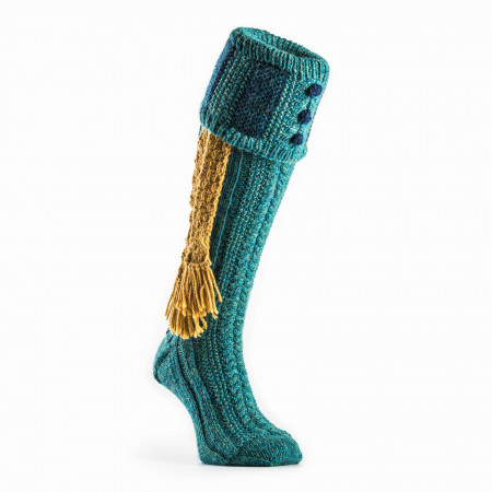 Westley Richards Vaynor Shooting Sock in Teal Green