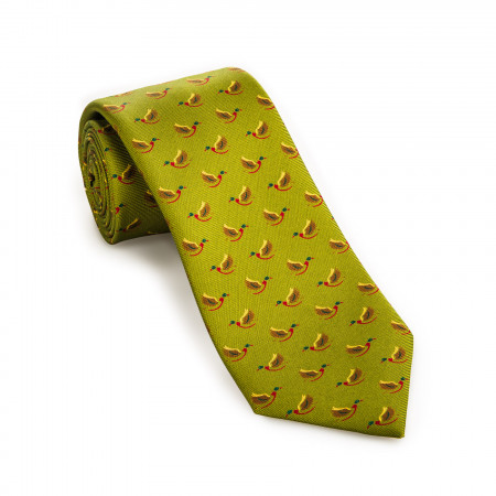Silk Mallard Tie in Bronze Green