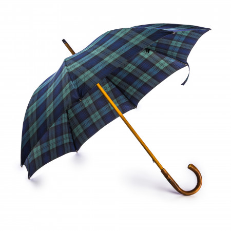 Westley Richards Tartan Umbrella with Knotted Chestnut Handle