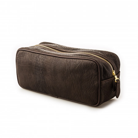 Leather Wash Bag in Buffalo