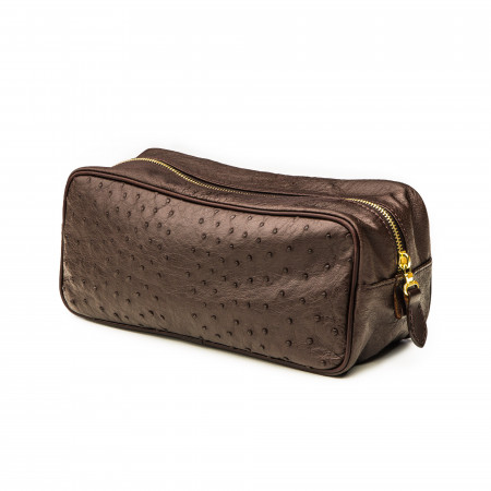 Leather Wash Bag - Ostrich