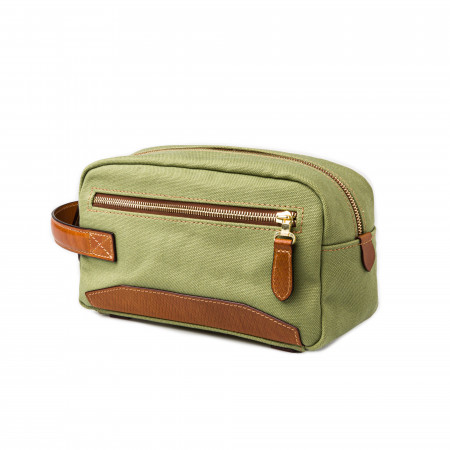 Westley Richards Bournbrook Wash Bag in Safari Green and Mid Tan