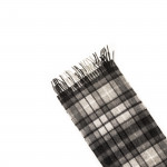 Pure Cashmere Scarf in Stepping Check Natural