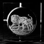 Hand Engraved Crystal Cigar Ashtray - Lions