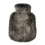 Rabbit Fur Hot Water Bottle in Black/Snow top