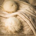 Cashmere Bed Socks with Mink Fur in Beige