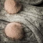 Cashmere Bed Socks with Mink Fur in Grey