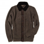 Men's Cardigan with Lambswool Suede Details