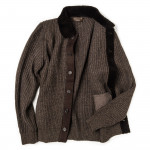 Men's Cardigan with Lambswool Suede Details