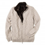 Men's Pure Cashmere Fur Lined Cardigan