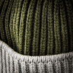 Knitted Two Tone Cashmere Hat in Green
