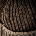 Knitted Two Tone Cashmere Hat in Brown