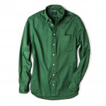 Long Sleeve Over Dye Oxford in Olive