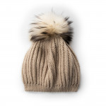 Cashmere and Raccoon Fur Cable Knit Hat in Beige