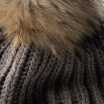Cashmere and Raccoon Fur Cable Knit Hat in Taupe