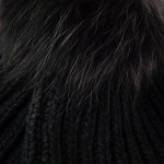 Cashmere and Raccoon Fur Cable Knit Hat in Black