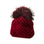Beatrice Cashmere and Raccoon Fur Textured Knit Hat