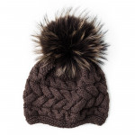 Cashmere & Raccoon Fur Knit Hat in Espresso