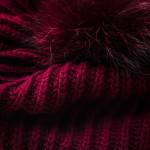 Cashmere & Raccoon Fur Knit Hat in Wine