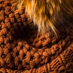 Cashmere & Raccoon Fur Knit Hat in Burnt Orange