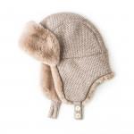 Fur Lined Knit Hat With Ear Warmers in Beige