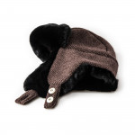 Fur Lined Knit Hat With Ear Warmers in Brown