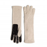Ladies Cashmere and Leather Gloves - Vanilla
