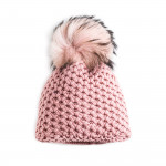 Cashmere & Raccoon Fur Knit Hat in Cameo