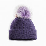 Cashmere & Raccoon Fur Knit Hat in Plum