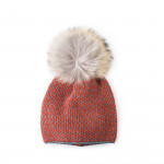 Wool & Cashmere Contrast Knit Hat w/ Raccoon Fur