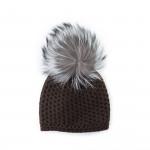 Cashmere Knit Hat w/ Silver Fox Fur - Expresso