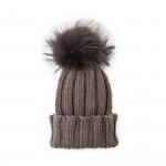 Cashmere Ribbed Fold Hat w/ Raccoon Fur - Hazelnut