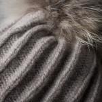 Wool & Cashmere Knit Hat w/ Raccoon Fur - Sand