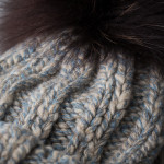 Cashmere Marl Knit Hat w/ Fur - Grey/Blue