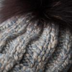 Cashmere Marl Knit Hat w/ Fur - Grey/Blue