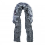 Alpaca Scarf with Coyote Fur - Charcoal