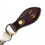 Leather Key Fob in Dark Tan