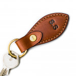 Leather Key Fob in Mid Tan