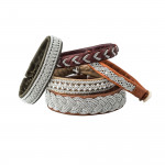 Pewter Embroidered Leather Bracelet - Sand