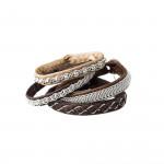 Pewter Embroidered Leather Bracelet - Natural