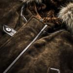 Men's Suede Shearling Coat Fur Collar
