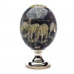 Ostrich Egg with Silver Base - Zebra