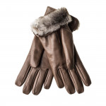 Ladies Leather Gloves with Rabbit Fur Lining